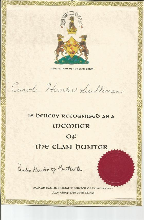 Clan Hunter Certificate