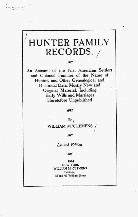 Hunter Family Records